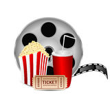 Movie icon. Items for cinema  on white background.reel of film with popcorn and a drink on a white background Royalty Free Stock Photography