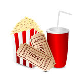 Movie icon. Popcorn with a drink and movie tickets  on white background.movie icon Stock Images