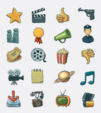 Movie icon set. Hand drawn  icon set Royalty Free Stock Photos