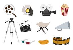 Movie icon set. For movie theme design Stock Photo