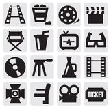 Movie icon set. Vector black movie icon set on gray Royalty Free Stock Image