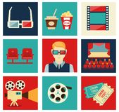 Movie icon set. Set of movie design elements and cinema icons in flat style vector illustration