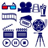 Movie icon set. Illustration Stock Image