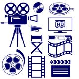 Movie icon set. Illustration Stock Photos