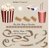 Movie icon set. Popcorn, 3d glasses, soda, tickets and film reel Royalty Free Stock Photos