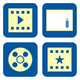 Movie icon set. Movie production icon set isolated on white background Stock Photo