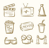 Movie icon set. Vector hand draw Movie icon set on beige Royalty Free Stock Photo