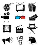 Movie icon set Royalty Free Stock Images