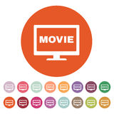 The movie icon. Television and tv, cinema, film symbol. Flat. Vector illustration. Button Set Stock Photo