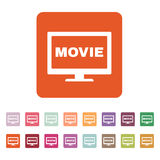 The movie icon. Television and tv, cinema, film symbol. Flat. Vector illustration. Button Set Royalty Free Stock Images
