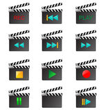 Movie icons. Twelve colored icons in the form of film boards for designers for different needs Royalty Free Stock Photos