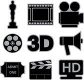 Movie icons. Set of nine black movie icons on white background Royalty Free Stock Image