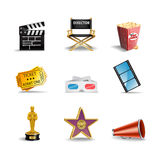 Movie Icons. A set of colorful hollywood film and movie icons stock illustration
