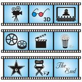 Movie icons. Set of nine movie icons in blue film stripes Royalty Free Stock Photos