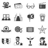 Movie Icons Black Set. With actor filmstrip and award  vector illustration Stock Photos