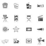Movie Icons Black Set. With filmstrip tv and popcorn  vector illustration Stock Photography