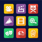 Movie Icons Flat Design Stock Photo