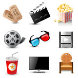 Movie icons. 9 highly detailed movie icons Royalty Free Stock Image