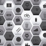 Movie icons. Over gray background vector illustration Stock Photography