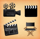 Movie icons. Over vintage background vector illustration Royalty Free Stock Photos