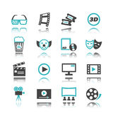 Movie icons with reflection Royalty Free Stock Photography