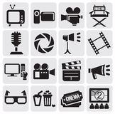 Movie icons set. Vector black cinema icons set Royalty Free Stock Photography