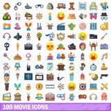 100 movie icons set, cartoon style. 100 movie icons set. Cartoon illustration of 100 movie vector icons isolated on white background stock illustration