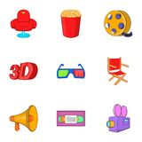 Movie icons set, cartoon style Royalty Free Stock Images