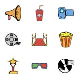 Movie icons set, cartoon style. Movie icons set. Cartoon illustration of 9 movie vector icons for web Royalty Free Stock Photos