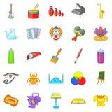 Movie icons set, cartoon style. Movie icons set. Cartoon set of 25 movie icons for web isolated on white background Stock Images