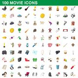 100 movie icons set, cartoon style. 100 movie icons set in cartoon style for any design illustration vector illustration