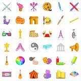 Movie icons set, cartoon style. Movie icons set. Cartoon style of 36 movie vector icons for web isolated on white background Stock Photos