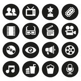 Movie icons set. Movie and Cinema icons set. 16 icons Royalty Free Stock Images
