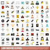 100 movie icons set, flat style. 100 movie icons set in flat style for any design vector illustration Stock Illustration