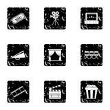 Movie icons set, grunge style. Movie icons set. Grunge illustration of 9 movie vector icons for web Royalty Free Stock Photo