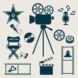 Movie icons. Set of retro movie and music icons Royalty Free Stock Photography