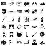 Movie icons set, simle style. Movie icons set. Simple style of 36 movie vector icons for web isolated on white background Stock Photos
