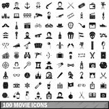 100 movie icons set, simple style. 100 movie icons set in simple style for any design vector illustration Stock Images
