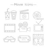 Movie Icons. Set of Movie Icons, thin line style vector. Cinema symbols Royalty Free Stock Image