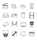 Movie icons set. Vector movie icons set 16 black color Royalty Free Stock Image
