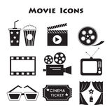 Movie icons. Set of Movie icons, vector.  Cinema symbols Stock Photo