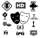 Movie icons set. Royalty Free Stock Photos