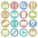 Movie icons set. Vector  white icons movie set 16 with color circle Stock Image