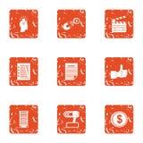 Movie idea icons set, grunge style. Movie idea icons set. Grunge set of 9 movie idea vector icons for web isolated on white background Stock Photos