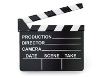 Movie industry. Clapperboard on white background. 3d Royalty Free Stock Photo