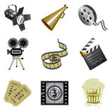 Movie industry icons. Set of 9 detailed icons from film industry Stock Image