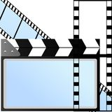 The movie industry. Motion-picture film, and tools used in the filming. The illustration on a white background Stock Image