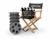 Movie industry. Producer chair and film reel. Movie industry. Producer chair, clapperboard and film reel. 3d vector illustration