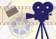 Movie industry stuff. Movie Camera, clapboard and films collage. Vector EPS illustration Stock Images
