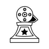 Movie industry trophy awards outline stock illustration